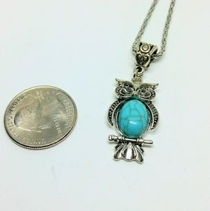 Tibetan Silver Turquoise Owl Necklace